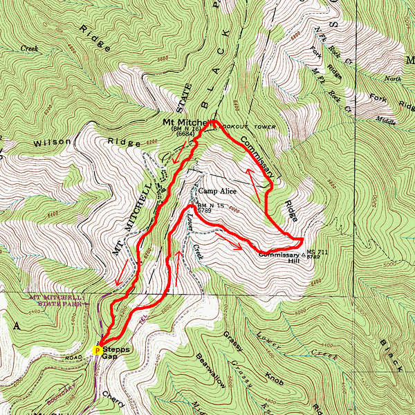 Mount Mitchell State Park Hike Route Map
