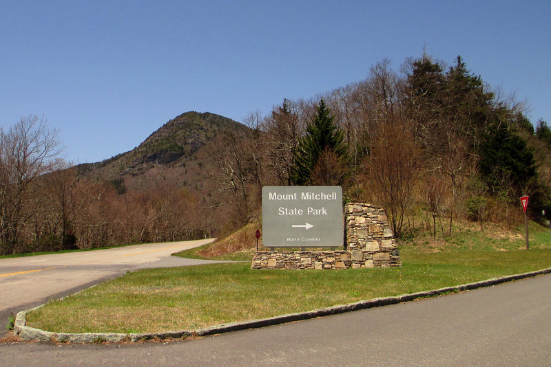 The entrance to Mt. Mitchell State Park off the Blue Ridge Parkway.  Potato Knob (6,400') looms beyond...