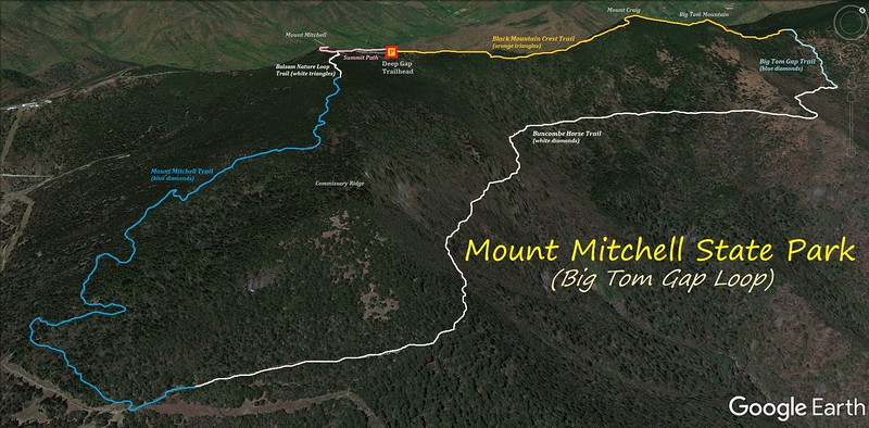 Mount Mitchell-Big Tom Gap Loop Route Map