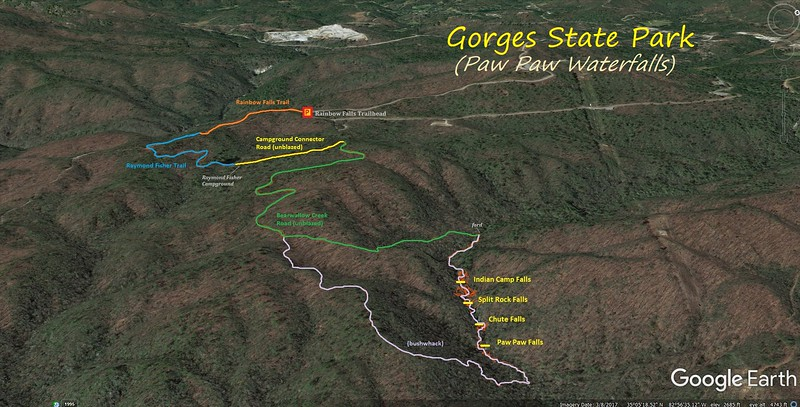 Paw Paw Waterfalls Hike Route Map
