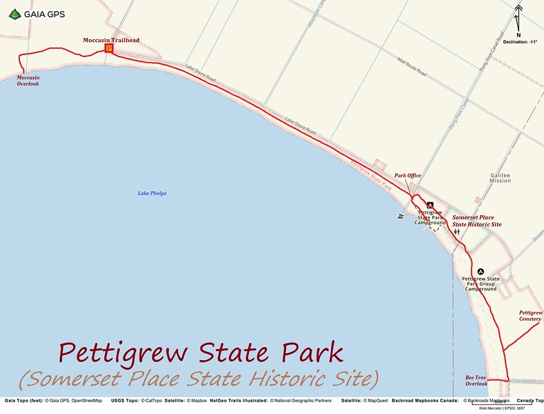 Pettigrew State Park Hike Route Map