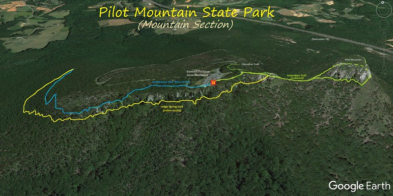 Pilot Mountain Hike Route Map