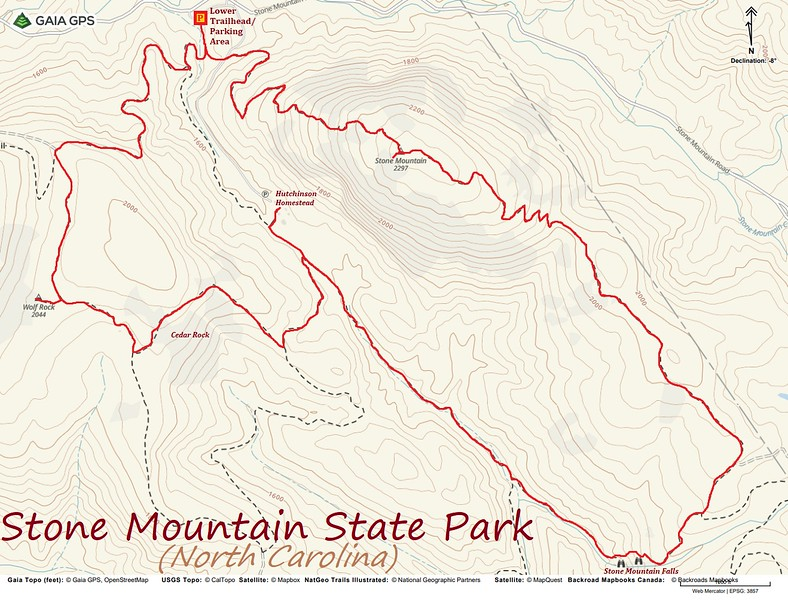 Stone Mountain State Park Hike Route Map