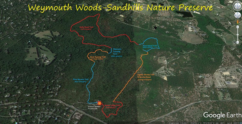 Weymouth Woods Loop Hike Route Map