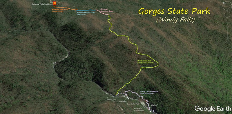 Windy Falls Hike Route Map