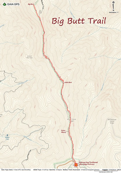 Big Butt Trail Hike Route Map
