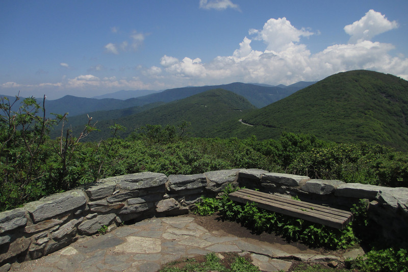 <b>Craggy Pinnacle Summit (5,892') - </b> The top of the Pinnacle contains a four-pronged stone observation area each providing a unique view in each cardinal direction from the summit...