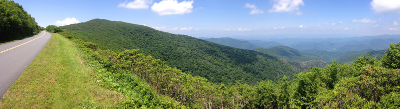 Now just to the north along the Parkway, Craggy Pinnacle rises high above the valley of Carter Creek to the north...