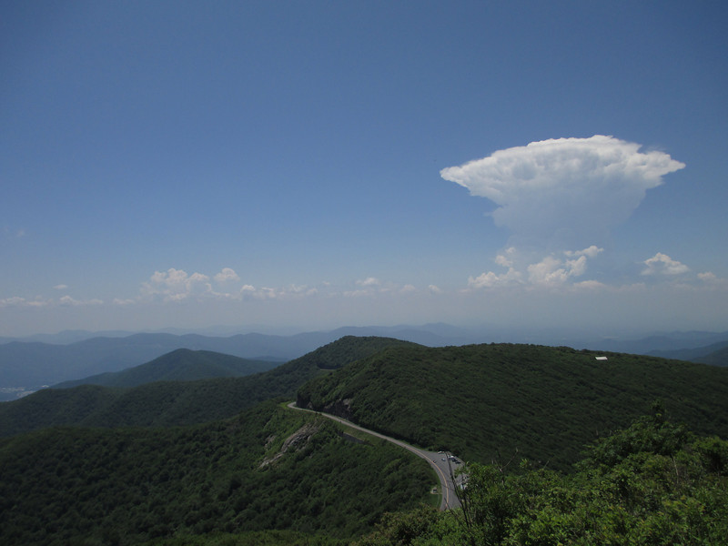 <b>Craggy Pinnacle Summit (5,892') - </b>Besides the view, a billowing thunderhead to the south provided added drama to the scene...