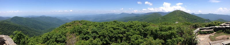 <b>Craggy Pinnacle Summit (5,892') - </b>The northwestern panorama from the summit of Craggy Pinnacle.  Craggy Dome (6,080') is to the right with the Black Mountains beyond...