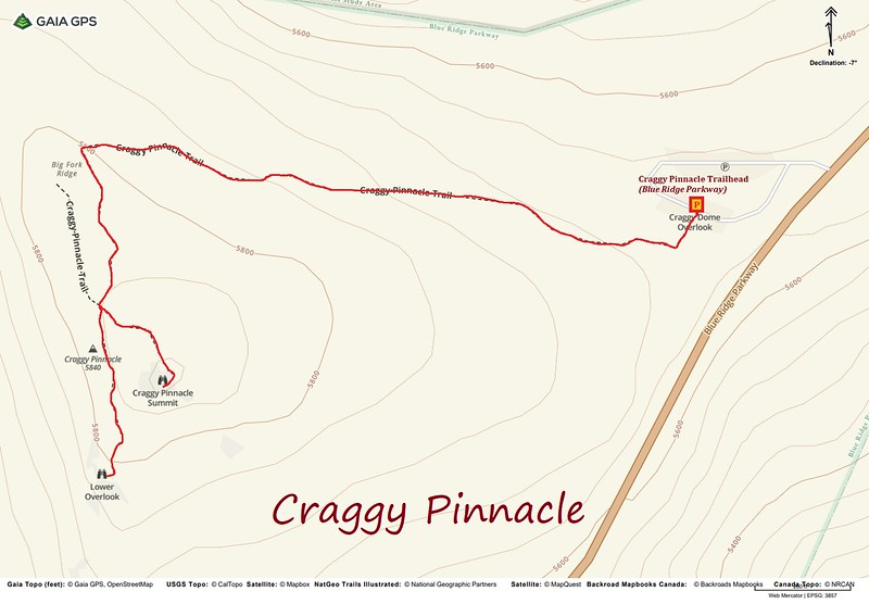 Craggy Pinnacle Hike Route Map