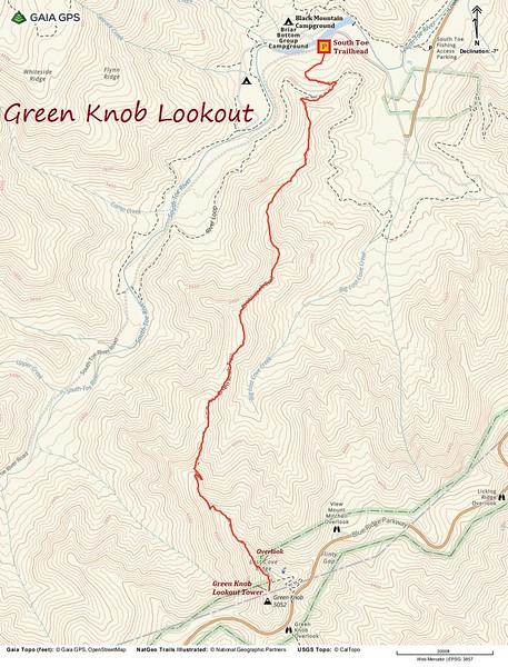 Green Knob Lookout Hike Route Map