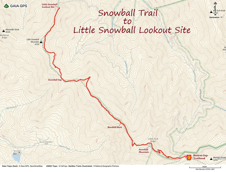 Little Snowball Lookout Site Hike Route Map