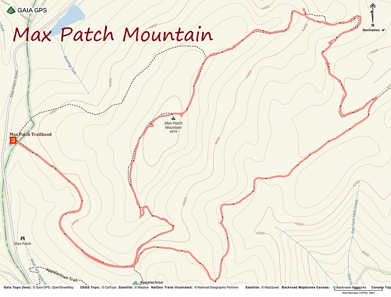 Max Patch-Appalachian Trail Loop Route Map