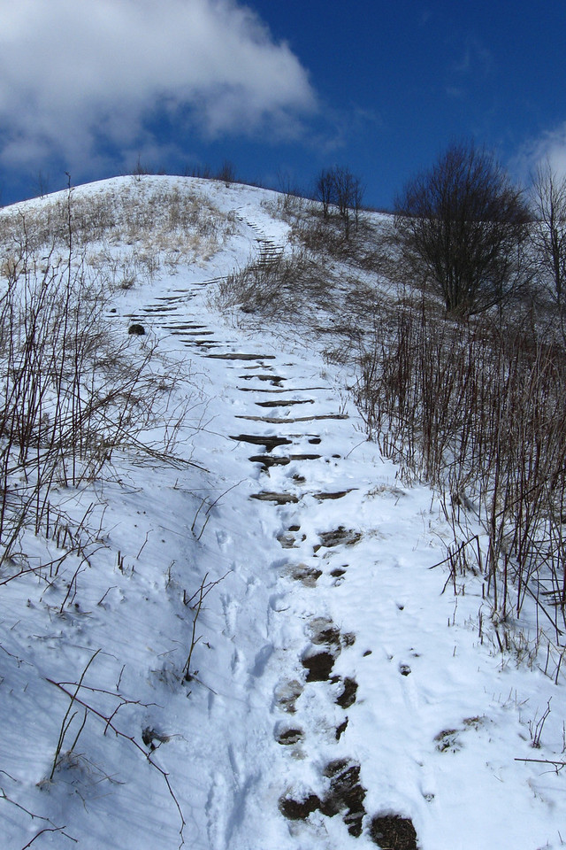 The 'crux' of the climb back to the summit...