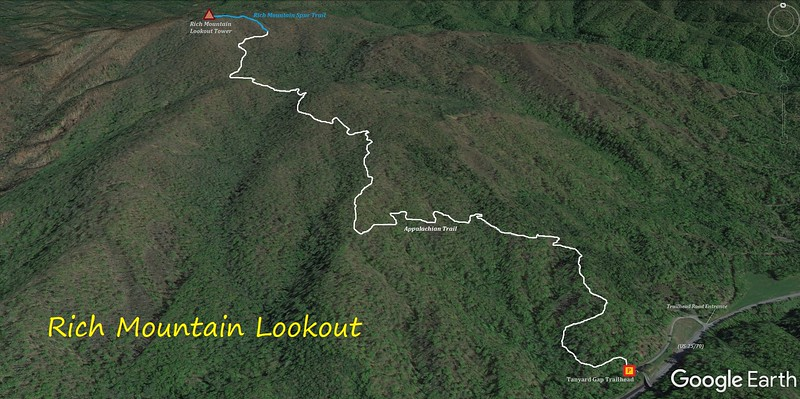 Rich Mountain Lookout Tower Hike Route Map