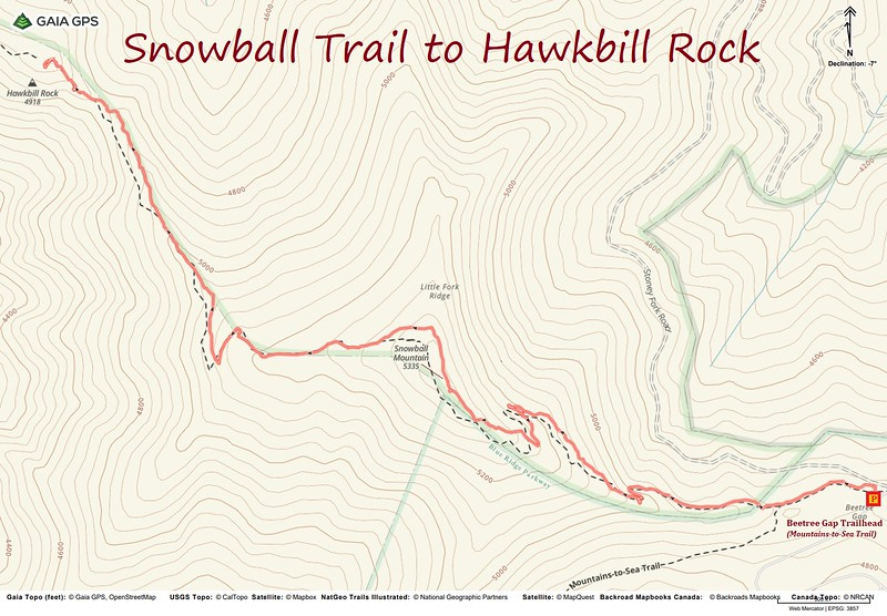 Hawkbill Rock (Snowball Trail) Hike Route Map