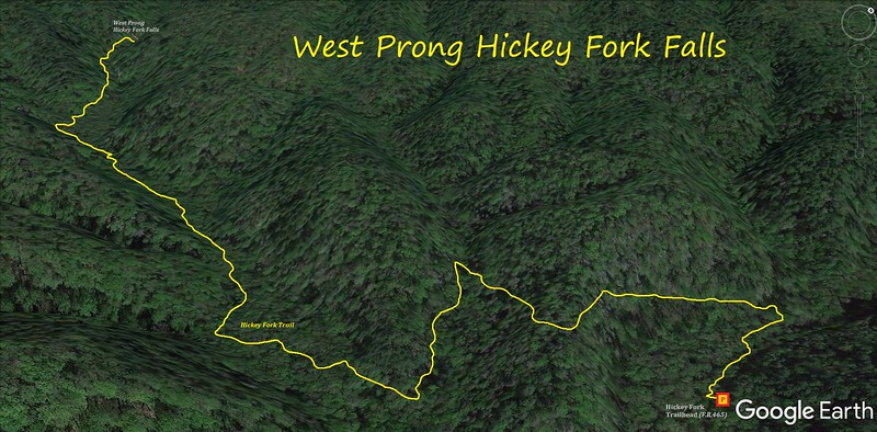 West Fork Hickey Creek Falls Hike Route Map