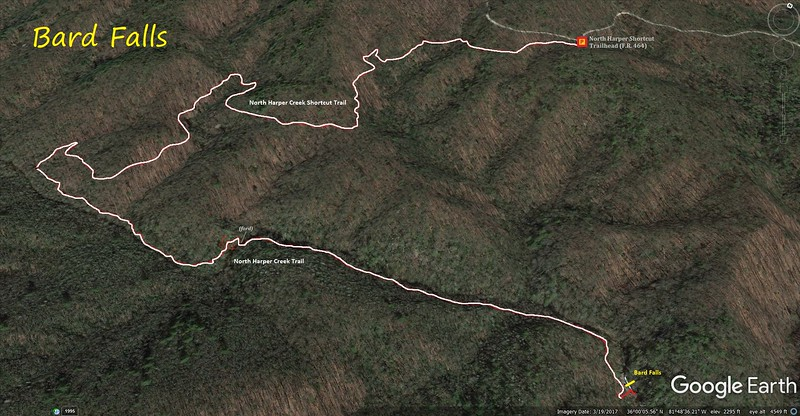 Bard Falls Hike Route Map