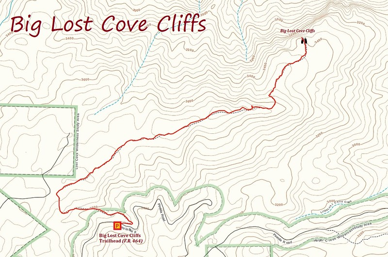 Big Lost Cove Cliffs Hike Route Map