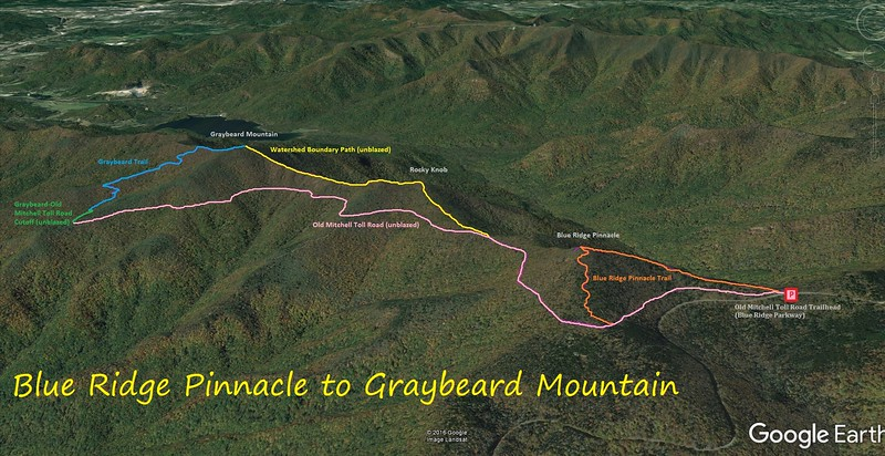 Blue Ridge Pinnacle to Graybeard Mountain Hike Route Map