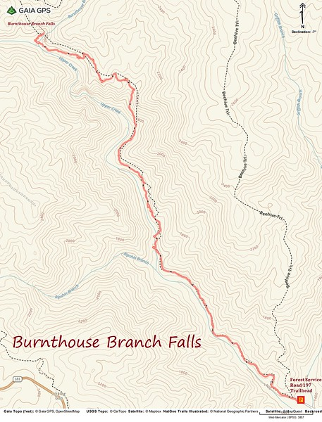 Burnthouse Branch Falls Hike Route Map