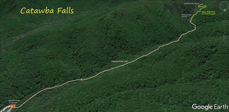 Catawba Falls Hike Route Map