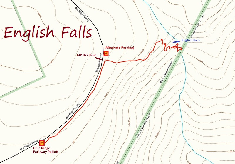 English Falls Hike Route Map