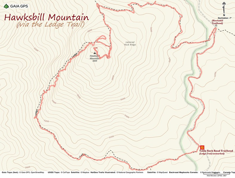 Hawksbill Mountain-Ledge Trail Loop Route Map