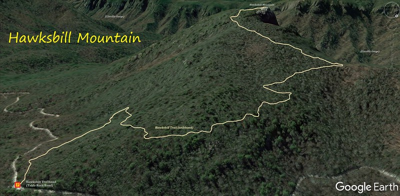 Hawksbill Mountain Hike Route Map