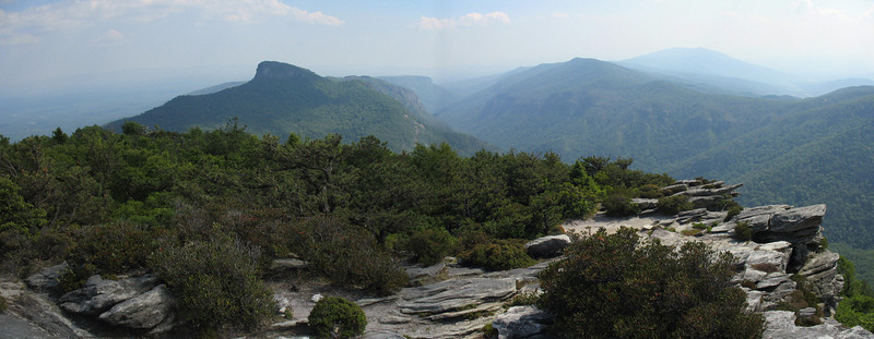 Linville Gorge pano from Hawksbill summit...