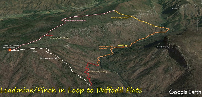 Leadmine-Pinch In Hike to Daffodil Flats Route Map