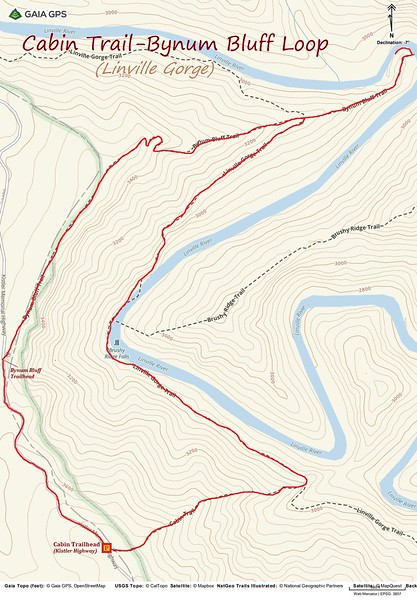 Cabin Trail-Bynum Bluff Loop Hike Route Map