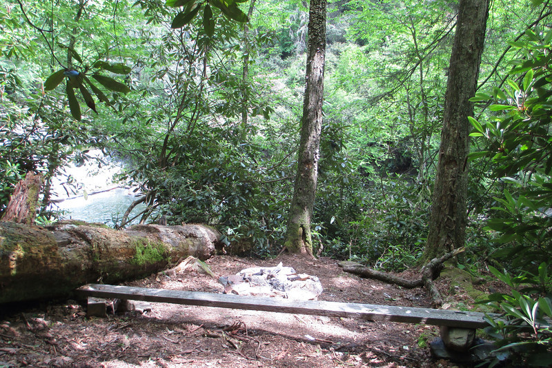 There was evidence of well-used campsites near the unnamed falls...