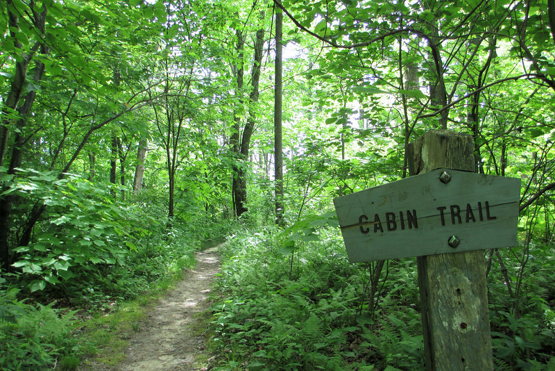 Starting the Cabin Trail...beyond the sign is likely the longest flat stretch of trail along its entire 1-mile length...