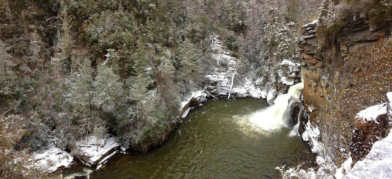 I had visited Linville Falls many times before, but had never witnessed a scene like this...note the trees surrounding the plunge pool covered in frozen spray...amazing...