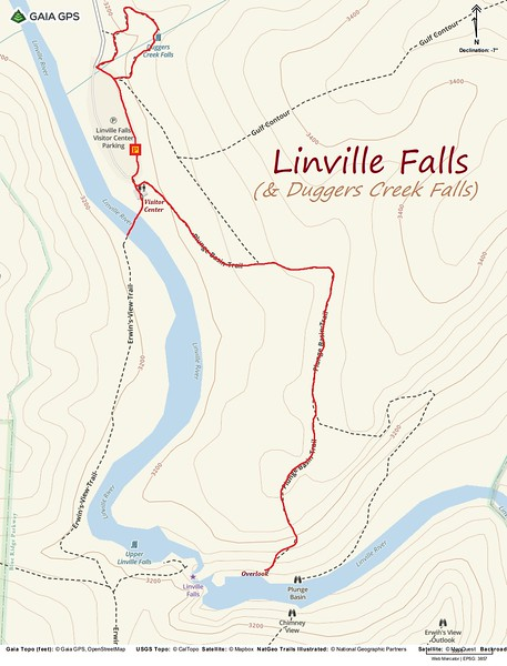 Linville Falls Hike Route Map