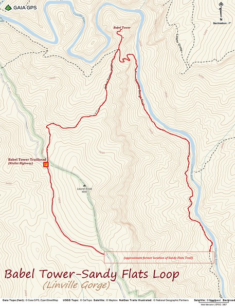 Babel Tower-Sandy Flats Loop Hike Route Map