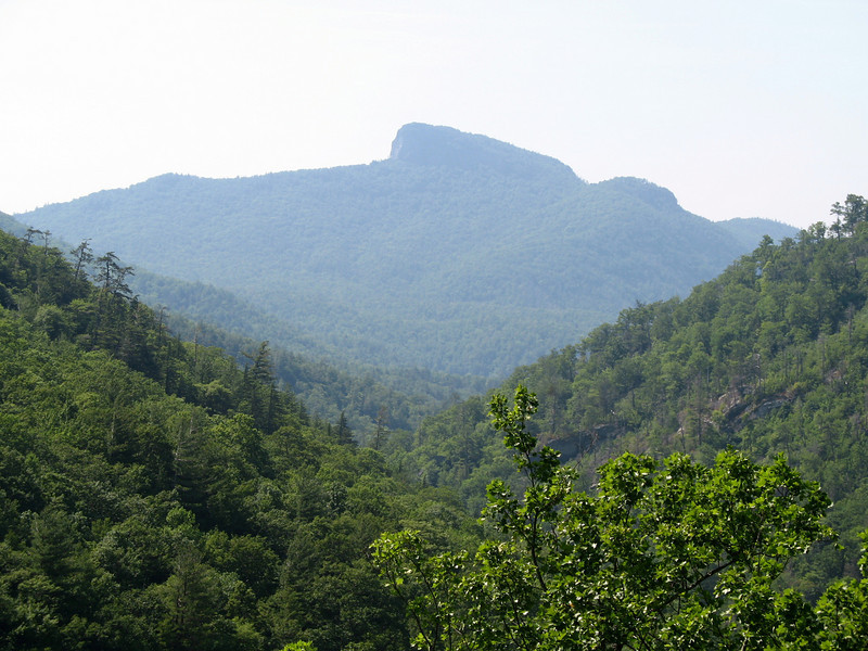 A closeup shot of Tablerock through the trees from the Linville Gorge Trail. About 1/2 mile south of Babel Tower.
