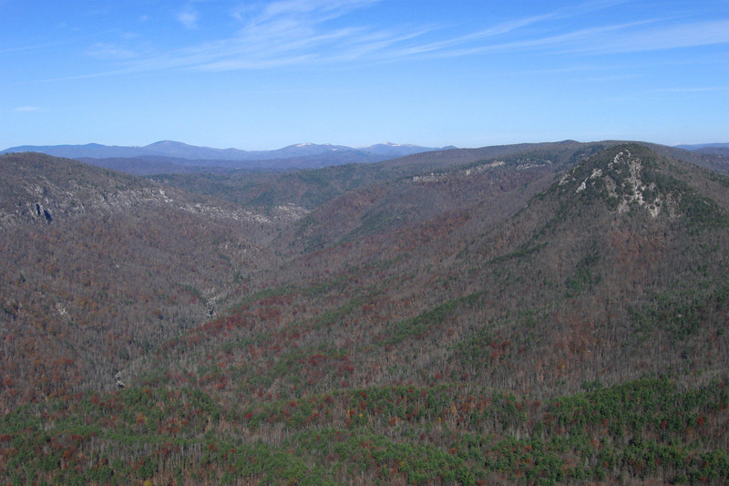 A closer look at the head of Linville Gorge from the north end of the summit.  Snow can still be seen atop the distant Roan Highlands from Hurricane Sandy the week before which dropped nearly 2-feet on the higher peaks...