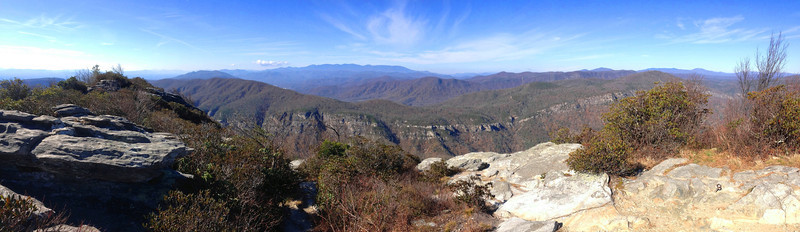 <i>Tablerock Mountain Summit</i> - 4,100' - The panorama south and west from the summit rocks.  The Black Mountains are in the center distance while the Roan Highlands are to the distant right...