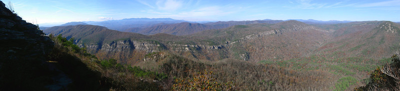Nearing the top, the Linville Gorge spreads out below in all its grandeur...