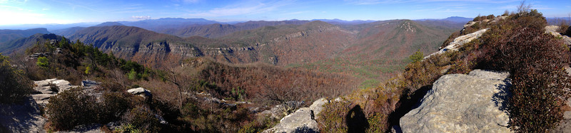 The full panorama of Linville Gorge from the summit.  This type of shot gives a curving effect to the gorge which is actually linear...