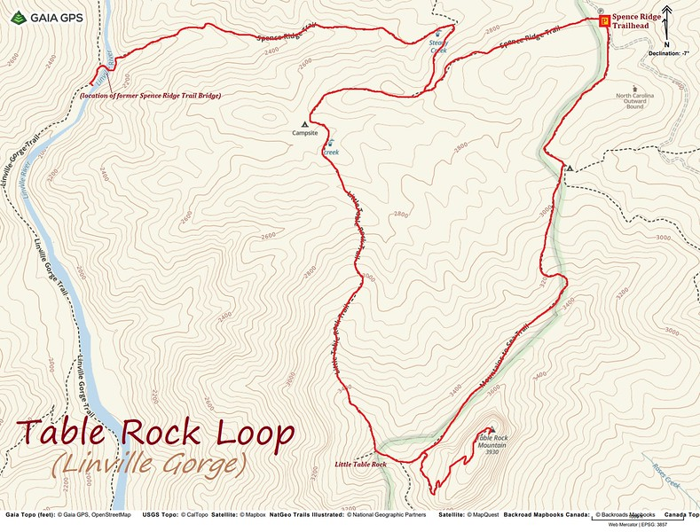 Table Rock Mountain Loop Hike Route Map
