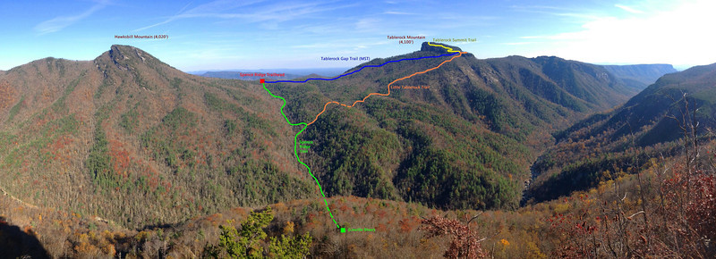 The previous day to the hike, my work station was across the gorge at Wiseman's View, seen here.  From the overlook I planned my route for the following morning.  Starting at the Spence Ridge Trailhead, I'd ascend Tablerock Mountain via the Tablerock Gap Trail and then descend to the gorge via the Little Tablerock and Spence Ridge Trails.  I'd then climb out along the Spence Ridge Trail.<br /> <br /> Total length:  7.5 miles<br /> Elevation Gain:  ~2,000 ft<br /> <br /> It was gonna be a heck of a day...