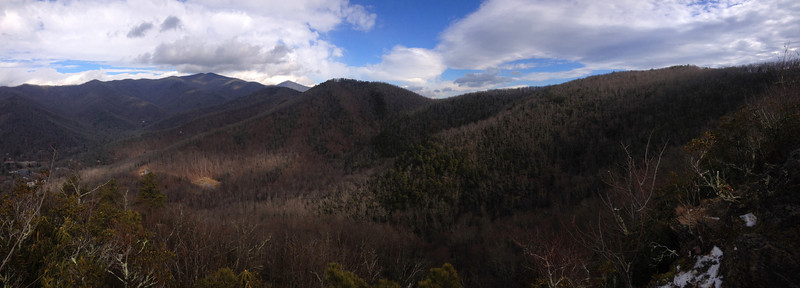 Little Lookout Summit (3,621')...looking north along the east ridge which forms the eastern rim of the bowl of peaks which surround Montreat.  The pointed mountain that can be seen in the far middle distance is known as the Blue Ridge Pinnacle (5,665')...