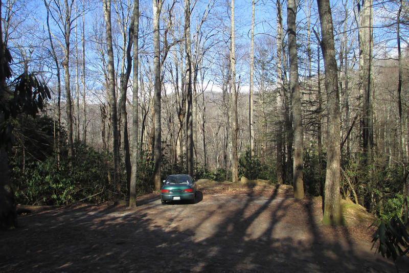 A half mile or so above Montreat College on Lookout Road is the large trailhead parking area...