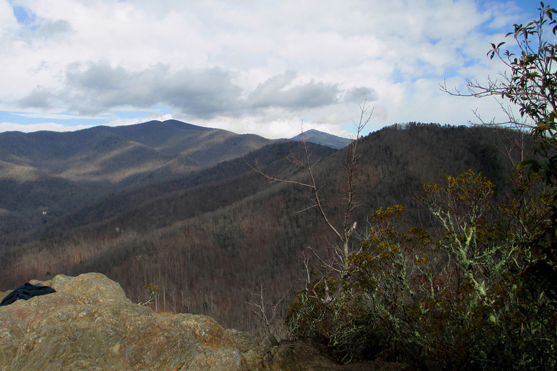 Little Lookout Summit (3,621')...another shot to the north.  From left to right are Graybeard Mountain (5,408'), Blue Ridge Pinnacle (5,665') and what I believe is Brushy Mountain (3,879')...