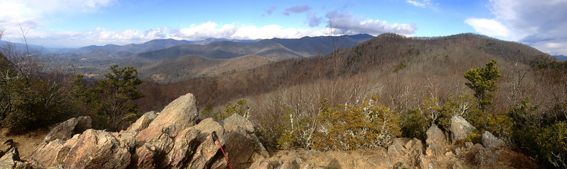 Rattlesnake Mountain summit (3,540')...the panorama from the top encompasses (from left to right) the Swannanoa River Valley, the Black Mountain Ridge (cloud covered), the Seven Sisters Ridge, and Lookout Mountain...
