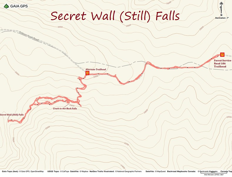 Secret Wall Falls Hike Route Map